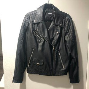 Black Faux Leather Moto Jacket - Express